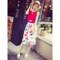 小银子2015夏装新款后背拉链背心+舒适花朵7分阔腿裤D6104