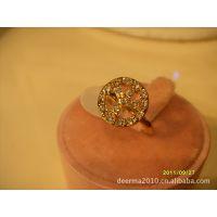 反战标时尚镶钻戒指