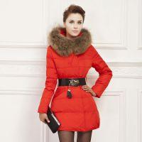 厂家批发冬季高档品牌气质女装外套收腰欧美风毛领中长款羽绒服