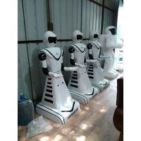 玻璃钢餐厅机器人|送餐机器人雕塑|餐厅机器人服务员