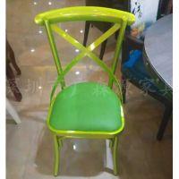 厂家直销铁艺餐椅 五金餐桌椅交叉椅 高档时尚椅