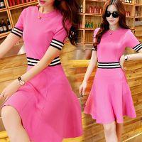 2015新款韩版女装短袖条纹高腰针织连衣裙修身弹力蓬蓬裙A字裙子