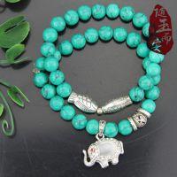 随玉而安精美绿松石配藏银小鱼大象单圈手链支持混批  一件代发