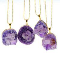 新款  速卖通 亚马逊 外贸饰品 紫色 不规则天然石项链  厂价批发