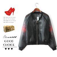 #L 欧美风 欧根纱印花拉链棒球服个性时尚透视感外套批发 X9412