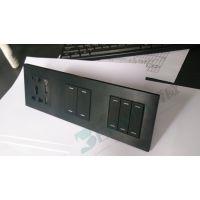 【厂家直销】奔威电器酒店智能弱电轻触开关 黑色铝拉丝面板多位联体面板