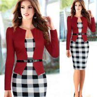 Ebay 热卖新款长袖假2件套格子拼接显瘦职业气质连衣裙