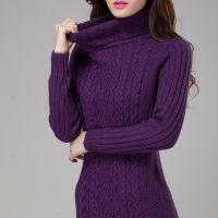 冬季羊毛复古麻花高领针织衫中长款加厚打底衫韩国毛衣女