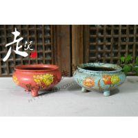 杭州走泥陶艺手绘陶瓷肉肉盆创意个性韩国花盆粗陶花器植物盆手工花盆