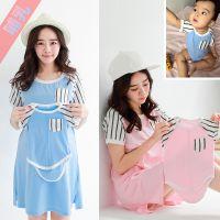 大码孕妇装夏季新款韩版时尚外出条纹拼接短袖孕妇哺乳裙 亲子装