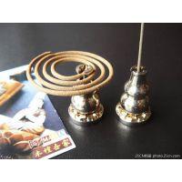 铜香炉卧香架盘香炉 葫芦莲花座线香卧香炉 禅修两用香座香托香插
