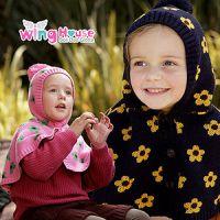 出口韩国专柜正品儿童女童宝宝有帽梅花保暖披肩披风斗篷毛线帽
