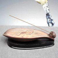 批发复古小荷叶香插陶瓷卧香炉线香盘香炉佛教用品香道用具沉檀香