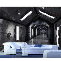 景灿大型3D整张无纺布壁画 黑白宇宙飞船太空舱空间延伸壁纸 复古工业风主题餐咖啡厅KTV背景墙纸