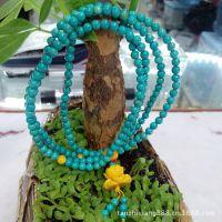 【檀之香】厂家供应直径4mm216颗天然绿松石+砗磲莲花手链手串