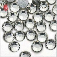 特价批发美甲手机diy配件透明白色玻璃水钻圆形平底贴钻国A玻璃钻