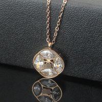 钛钢饰品批发 四叶草镶钻项链 18K玫瑰金女士带钻项链 大钻石项链