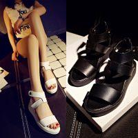 欧美新款平底鞋  鱼嘴真皮凉鞋 厚底松糕女鞋 搭扣坡跟鞋