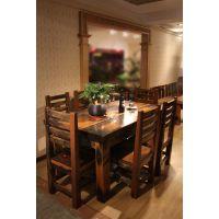 供应上好古船木方形6人餐桌椅套装组合 中山传家船木家具