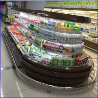 超市乳酸菌饮料展示保鲜柜 酸奶鲜奶冷藏展示柜 宁波椭圆环岛柜品牌