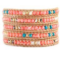 混批批发珊瑚水晶绿松石与铜镀金珠5圈自然棕毛面皮绳手链新