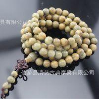 上品绿檀批发 绿檀108佛珠手链手串 中国风天然檀香味饰品