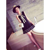 小银子2015夏装新款减龄必备下百褶拼色系带连衣裙Q5301