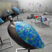 鸟雕塑 景观树脂孔雀圆雕 泳池水景站姿玻璃钢孔雀摆件豪晋雕塑厂家