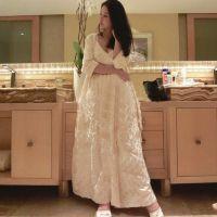 2015刘钰懿同款高端长款睡裙女士仿真丝睡衣长袖睡袍
