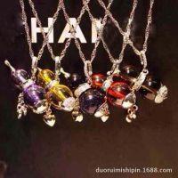 925纯银彩色葫芦吊坠项链 时尚可爱小饰品 水晶系列淑女项链