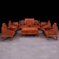 红木古典家具沙发非洲花梨/缅甸花梨卷书沙发十一件套厂家直销