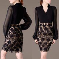 2014欧美新款V领时尚花朵长袖连衣裙