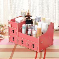 厂家直销创意diy木质桌面化妆品收纳盒特大号加抽屉首饰整理盒