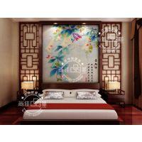 佛山尚佳皮雕软包厂家 田园风格艺术背景墙 床头背景墙 皮雕软包艺术背景墙 LC018喜相伴