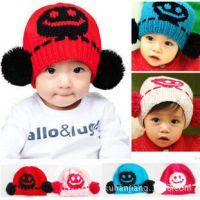 韩版宝宝帽子针织毛线帽子可爱套头帽双球笑脸秋冬款儿童帽子