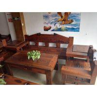 老船木沙发茶几茶桌椅组合客厅会所高档复古实木沙发