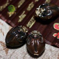 忠实珠宝 纯手工雕刻 紫铜鎏金银蝙蝠福寿背云 菩提配饰