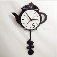创意DIY亚克力制作 卧室客厅静音时尚艺术挂钟加工 茶壶挂钟