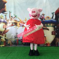 绿和卡通粉红猪小妹卡通人偶服装行走人偶人穿动漫服装卡通表演服装玩偶服
