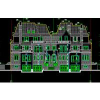 都市美观坡屋顶带车库、露台三层自建房屋设计图26.4x15米