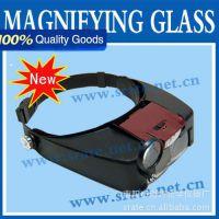头盔放大镜 MG81007-A  头戴式带LED灯放大镜 4组亚克力镜片可换