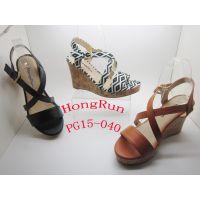 Hongrun女式坡跟鞋凉鞋