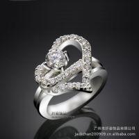 戒指批发《珠光宝气》黎姿佩戴幸福指环 镶钻心形韩国戒指R2303