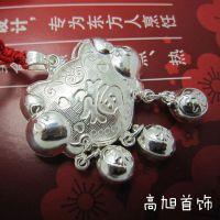 精品白铜镀银 吉祥福字葫芦纯银长命锁 镀千足银宝宝银饰