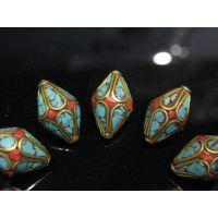 菩提子饰品材料配件尼泊尔藏式镶嵌绿松石珊瑚橄榄铜珠佛珠锥形珠