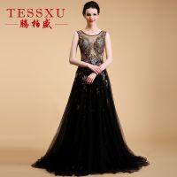 2016女装夏季新款欧美晚礼服 网纱长款修身优雅连衣裙黑色晚礼服