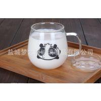 梦之雨耐热玻璃杯 创意咖啡杯 熊猫带把牛奶杯 透明玻璃水杯