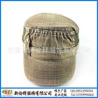 帽子工厂批 新款欧美潮流水洗褶皱条纹军人帽 撞色拼接铜扣平顶帽