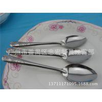 热销产品不锈钢勺子 珠帘玫瑰餐尖勺 餐厅厨房用品 带磁匙子