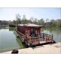 电动木船定制山东湖南餐饮船旅游观光船水上餐厅客船